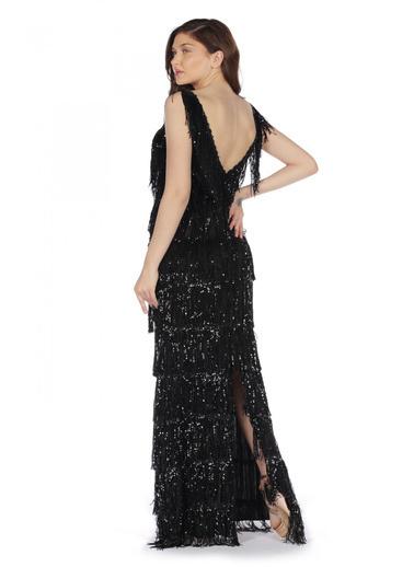 Pierre Cardin V Yaka Saçaklı Uzun Abiye Elbise Siyah